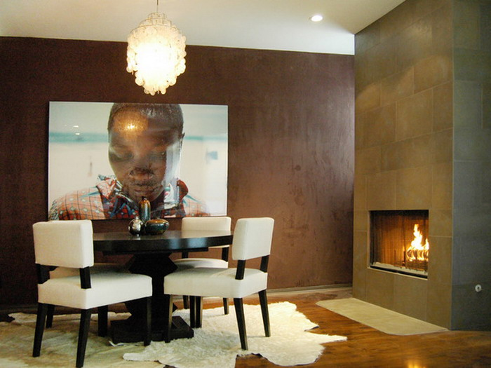 Brown Modern Dining Room Fireplace